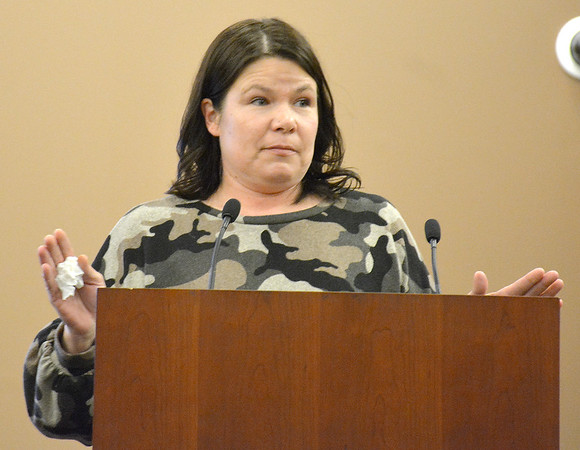 Problem-Solving Court graduate Stacy Schuette speaks during the problem-solving court graduation ceremony Friday at the Effingham Government Center. Kaitlin Cordes photo