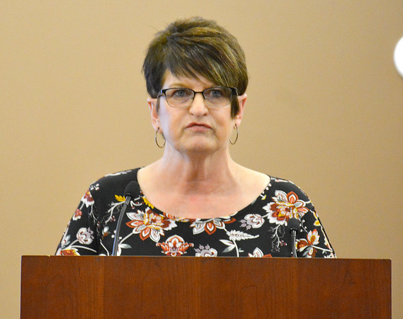 Problem-Solving Court Coordinator Cheryl Meyers speaks during the problem-solving court graduation ceremony Friday at the Effingham Government Center. Kaitlin Cordes photo