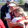 St. Anthony's Maddie Kibler hugs Alexis Stephens after a softball game against Illini Bluffs in the Class 1A state championship game, Wednesday, June 16, 2021, at the Louisville Slugger Sports Complex in Peoria, Ill.