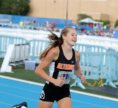 Altamont's Grace Nelson smiles after winning the 300-meter hurdle event at the Class 1A girls track and field state finals, on Thursday, July 10, 2021, at O'Brien Field on the campus of Eastern Illinois University in Charleston, Illinois.