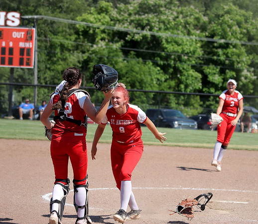 St. Anthony's Lucy Fearday (9) and Maddie Kibler (12) celebrate after winning the Class 1A Super-Sectionals against Marissa (Coulterville), Monday, June 14, 2021, at Johnston City High School, in Johnston City, Illinois. (Alex Wallner/Effingham Daily News)