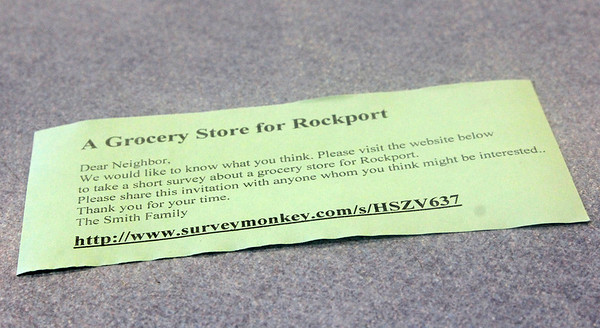 Allegra Boverman/Gloucester Daily Times. The survey, with its website on slips of paper, that Jay Smith, owner of Ace Hardware and the former IGA property, wants people to fill out to voice their opinions about having another grocery store in Rockport.