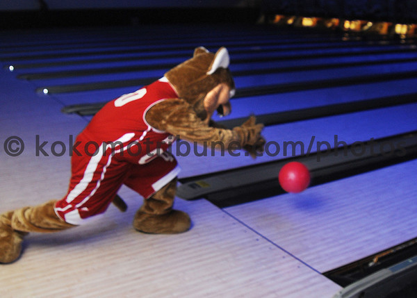Kingston Cougar shows off his bowling form.