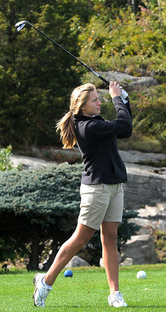 Jim Vaiknoras/Gloucester Daily Times: Rockport's Courtney Nelson tees off at the first hole during the teams match against Newburyport at Rockport Country Club Monday.