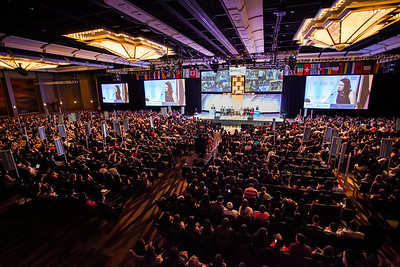 Large conference event plenary session in hotel ballroom. Event photography of a large convention in in Dallas, Texas.   To view more event images, visit  http://photos.jasondixson.com/Portfolio/Events. To view more event photography images, visit http://photos.jasondixson.com/Portfolio/Events.  To contact about a price quote, send an email through the contact form following the link in the side menu.