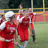 St. Anthony's Lucy Fearday screams after a home run by Stacie Vonderheide in the Class 1A Sectional Semifinals against Hutsonville on Tuesday, July 8, 2021, at St. Anthony High School, in Effingham, Illinois. (Alex Wallner/Effingham Daily News)