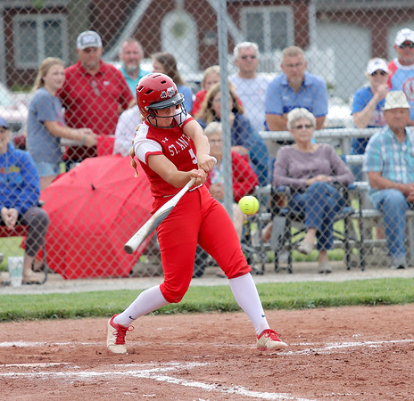 St. Anthony's Haley Niebrugge hits the ball in the Class 1A Sectional Semifinals against Hutsonville on Tuesday, July 8, 2021, at St. Anthony High School, in Effingham, Illinois. (Alex Wallner/Effingham Daily News)