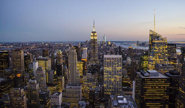 Manhattan, Empire State Building. Seen from Rockerfeller Center.