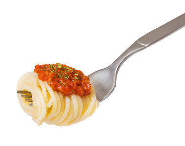 spaghetti and sauce on a fork isolated