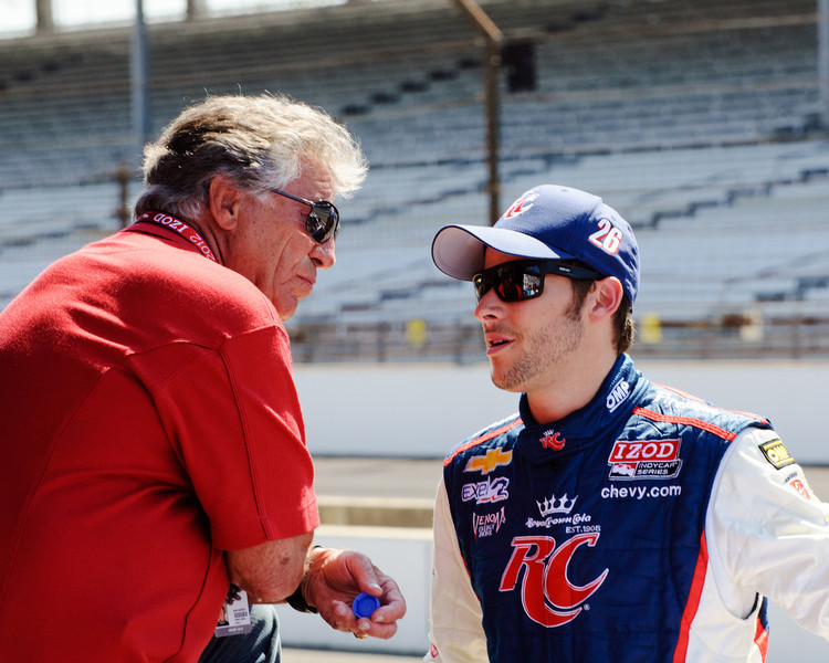 Mario and Marco Andretti at a practice for the Indy 500...