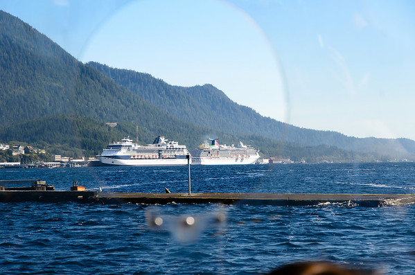 Looking out of the duckboat towards the two ships in port. Our ship is the Carnival Spirit on the right.