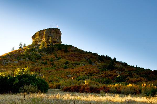 """The sun rising on """"The Rock"""" Castle Rock, Colorado September 30, 2011"""