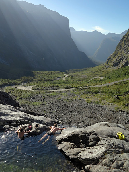 The rock pools above the Cleddau Portal of the Homer Tunnel