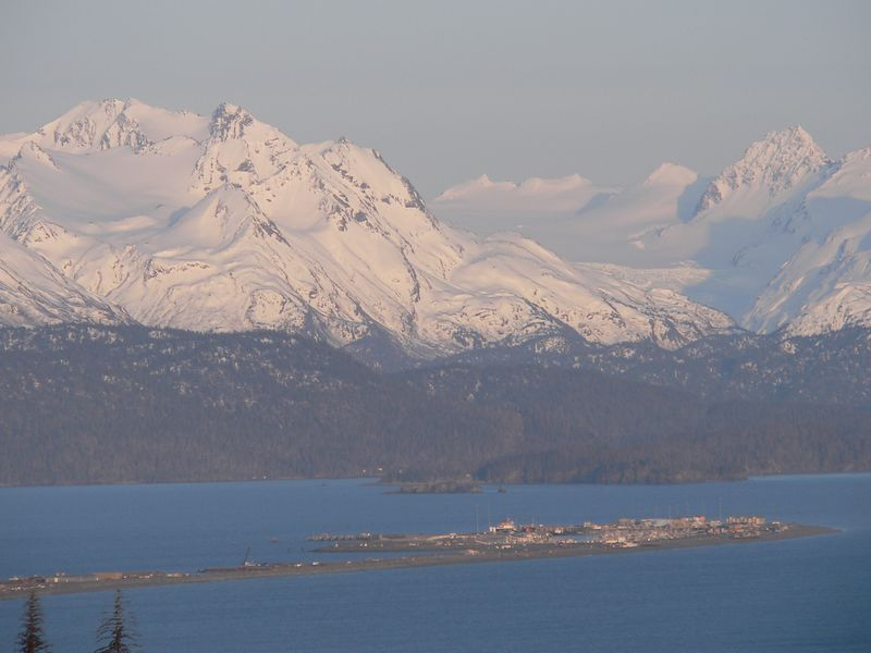 This and the next two images are views of Homer Spit jutting into Kachemak Bay from an Sterling Highway overlook several miles away.