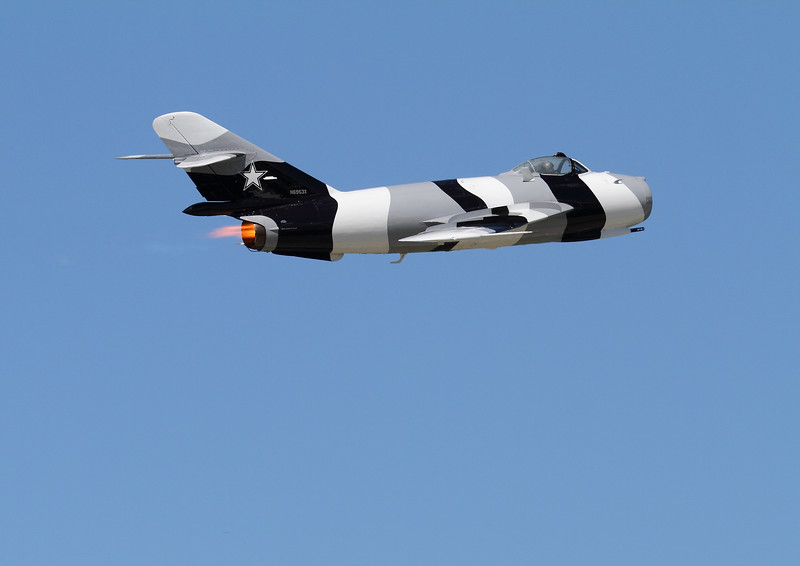 Jeff Kaney performing an afterburner pass in his Mig-17 which was  previously owned  by the Black Diamond Jet Team.