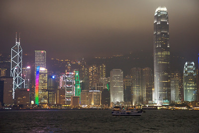 View of Central District of Hong Kong on misty night.