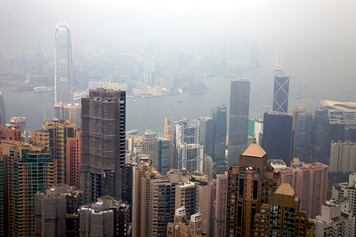 View of Hong Kong from The Peak on a misty day.
