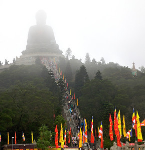 The Big Buddha on Lantau Island. There are 260 steps in the stairs leading up to the Buddha.