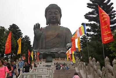 The Big Buddha on Lantau Island. The statue is 34 m (112 ft) high.