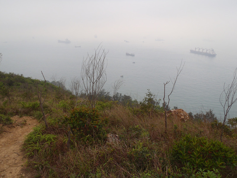 Top of the mountain looking over the straits and dozens of huge freighters