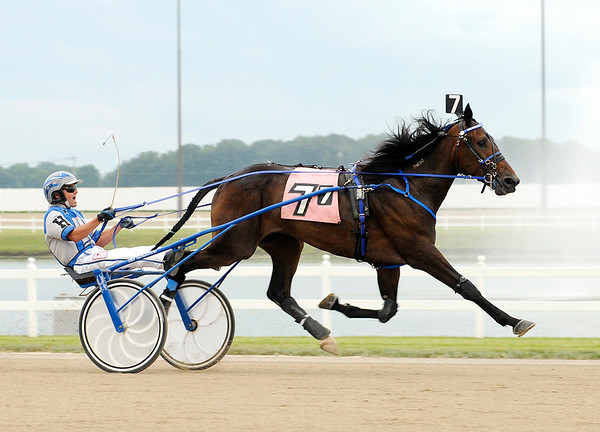 Don Knight/The Herald Bulletin<br /> Ed Hensley drives Serenes Yankee Boy to win the seventh race at Hoosier Park Racing and Casino on Thursday.
