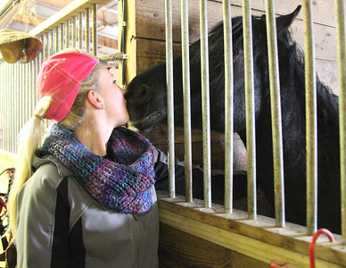 """03Mar2013__Taylor Zehnder of Amherst kisses """"Star"""", an affectionate horse up for adoption, during the Angels Haven """"Hoppin Around the Barn"""" fund raising event at Evergreen Farm in Grafton. photo by Ray Riedel"""