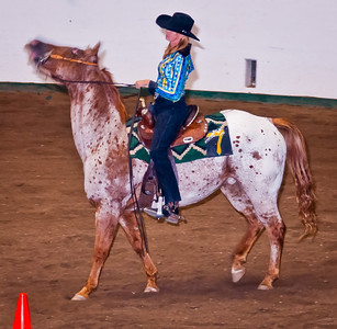 """This is a classic example of the too slow shutter speed problem. There was enough light in the arena that with the slow speed too much of the non flash subject was picked up while the horse's head was moving. The triggering of the flash gives a more """"frozen"""" picture because the illumination time is so short, but the damage is done. A faster shutter speed blocks out more of the background light (but not the flash since its duration is so much shorter than even the faster shutter). That would have given better stop action at the cost of the light dropping off past the subject leaving the arena in the background fading into darkness. It's a tradeoff, and I didn't necessarily make the right ones."""