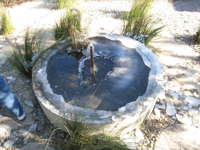Partially frozen fountain