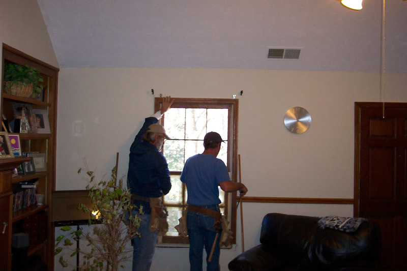 The wonderful dogs ate our windows & trim. Mark & Turtle worked on two windows - replacing trim & lower sashes.