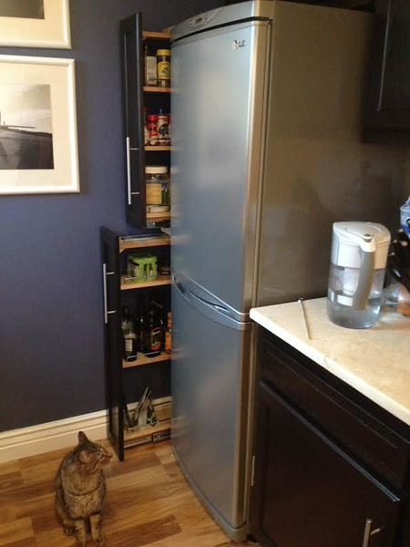the pantry. Henry's treats are kept in there, he guards it like a sentry