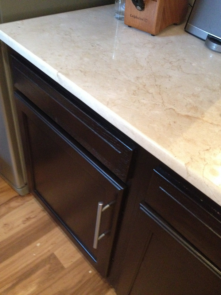 closer view of the gel and hardward and marble countertop (we paid to have installed professionally)