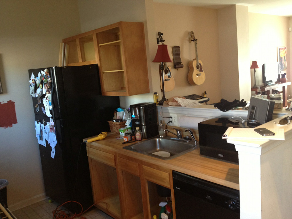 """Kitchen Before - no workspace due to weird elevated """"counter"""""""