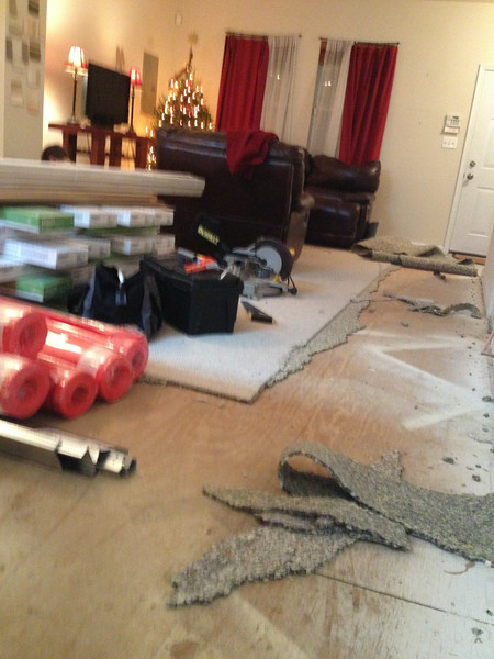 the night before Christmas, and all through the house, there wasn't a thread of old carpet, thanks to my spouse ...