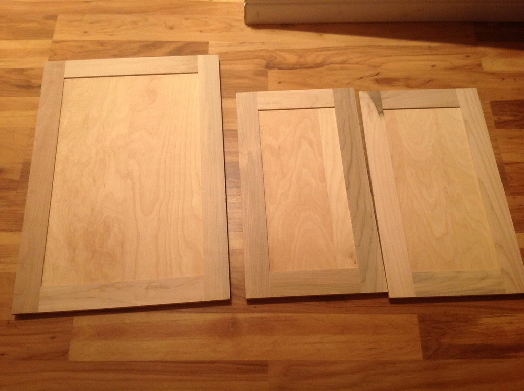 We purchased new cabinet doors and painted them with the gel