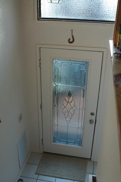 Freshly painted door, natural light