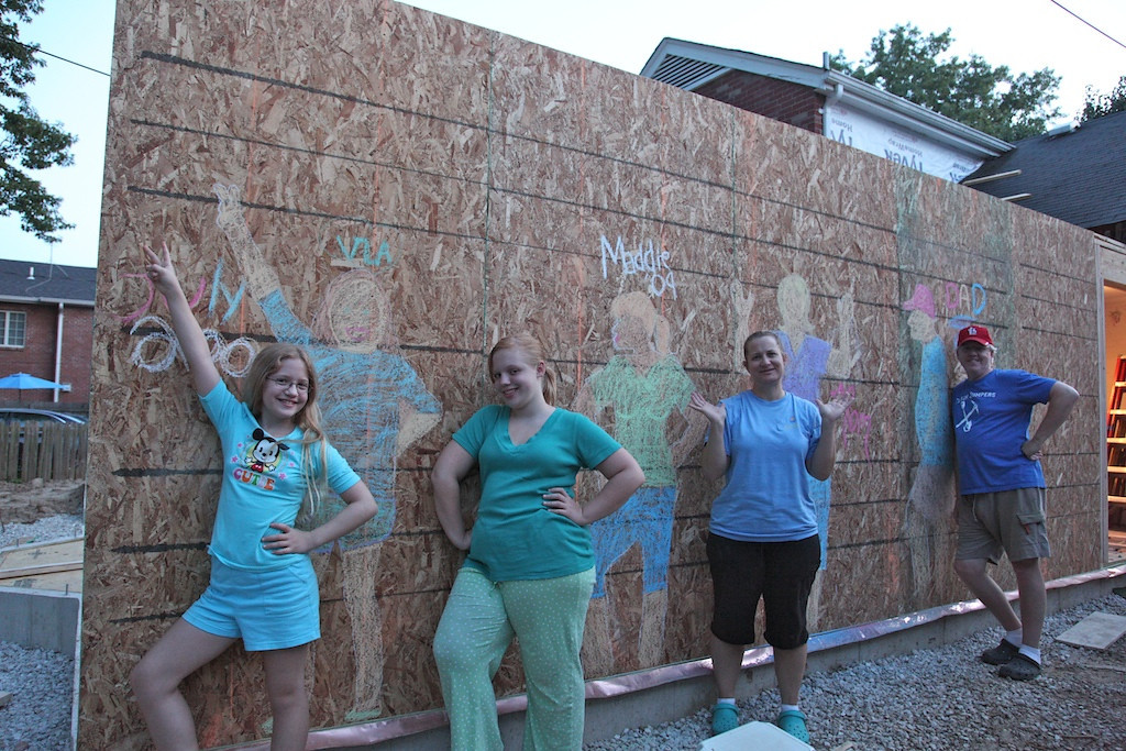 July 22 - we decided to christen the wall with chalk drawings of ourselves - will be there forever :)
