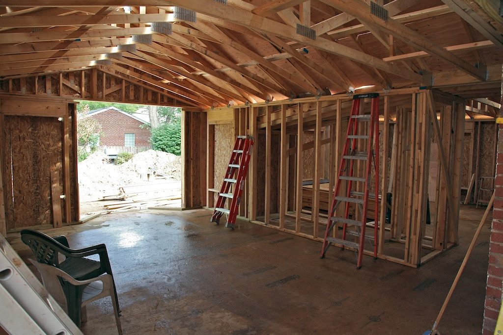 Aug 10 - inside with roof up... this is the new family room