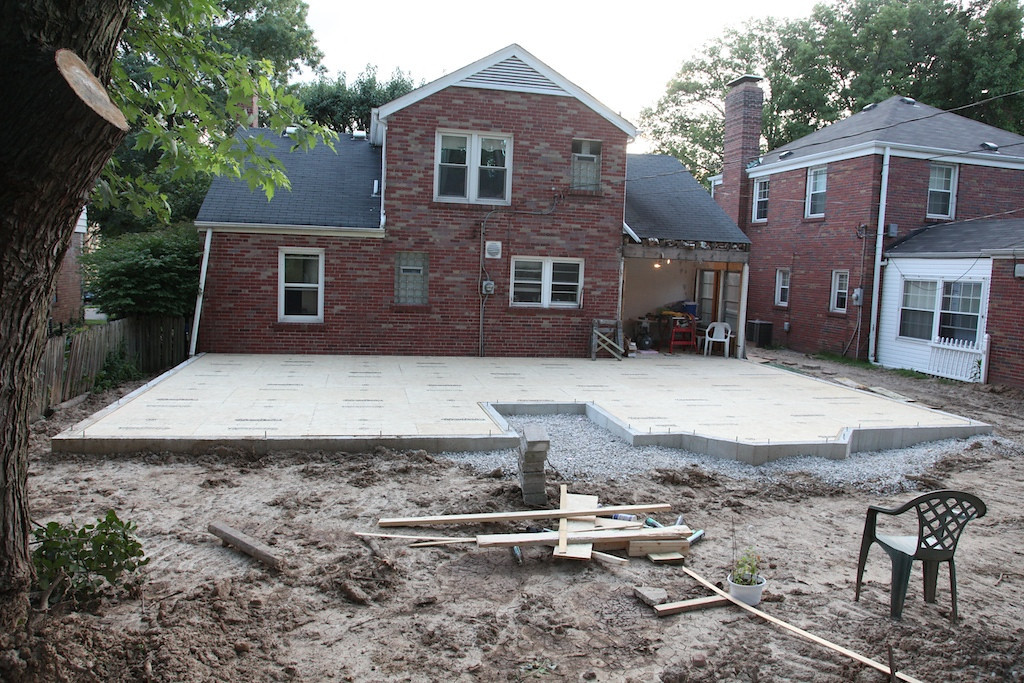 July 17 - sub floor completely in place. Next week, walls and roof trusses