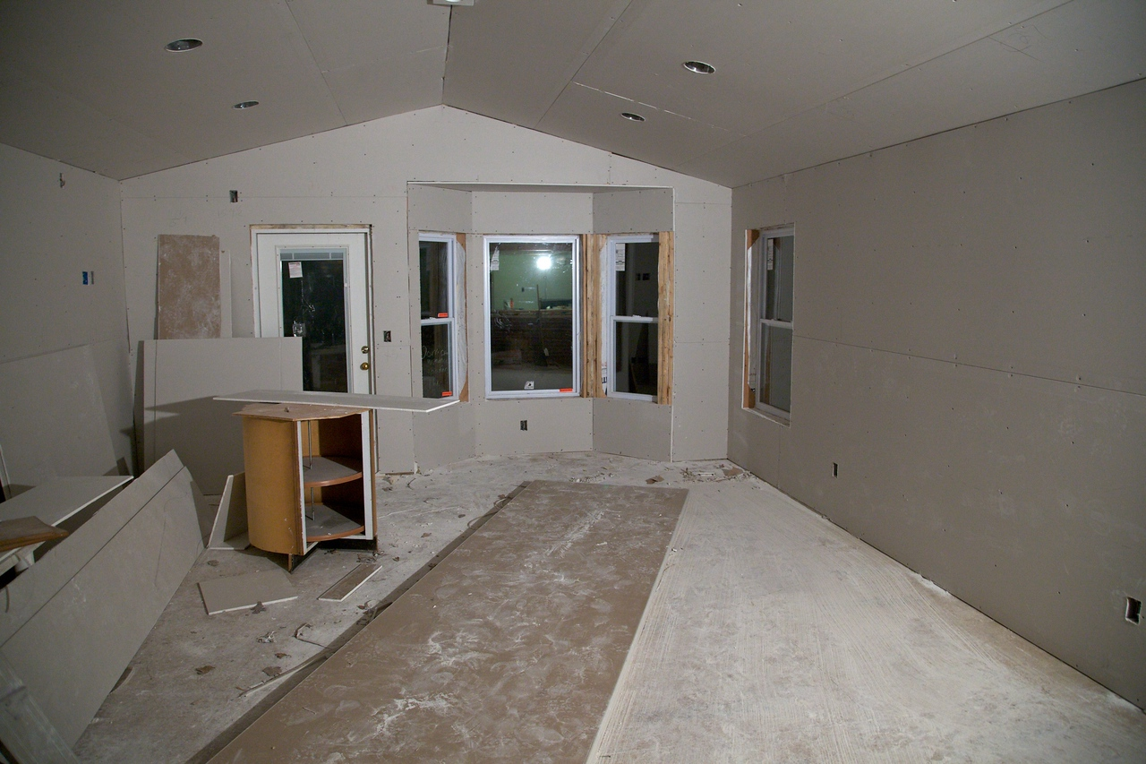 Nov 11 - Drywall first day - they got most of it done!