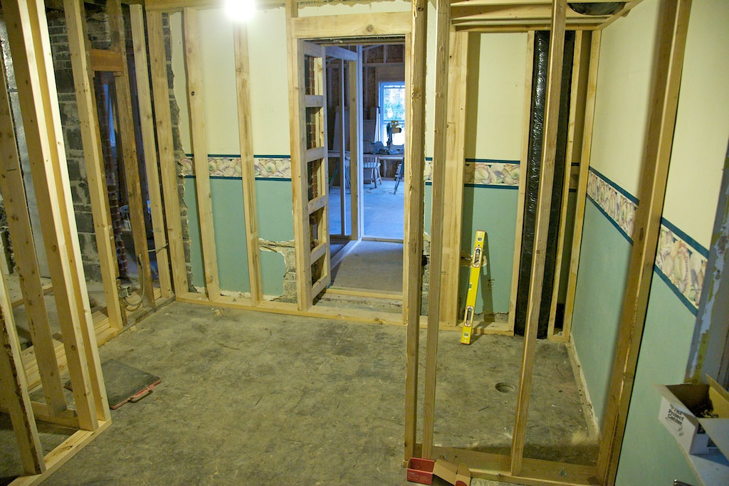 Sept 3 - we have walls up in the in the Master Bath for the shower (right) and hall closet (left)
