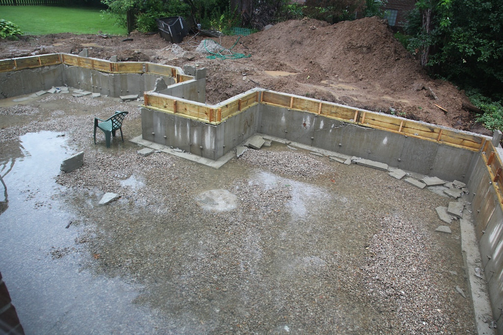 Yuck! On the 4th of July, we had almost 3 inches of rain! The project was delayed all week while we sat and waited for the dirt to dry so they could backfill the foundation. (Which happened Friday the 11th