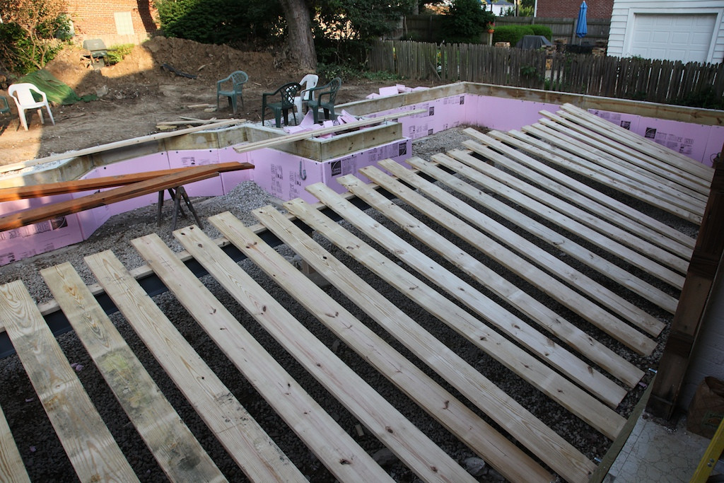 July 14 - they've got the beam set and are starting with the joists