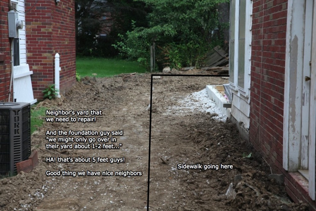 Showing side of the house with foundation filled and where the sidewalk will go.