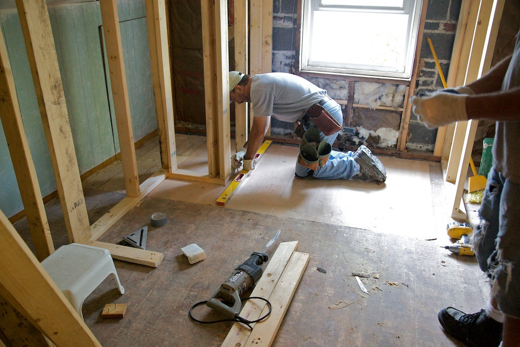 Aug 25 - Huston working on the new girl's bath upstairs