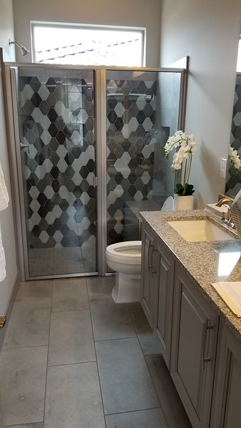 5' x 12' bathroom, seat in shower, no step into shower, tile design