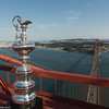 03/07/2013 - San Francisco (USA, CA) - 34th America's Cup - The America's Cup Trophy at the top of Golden Gate Bridge