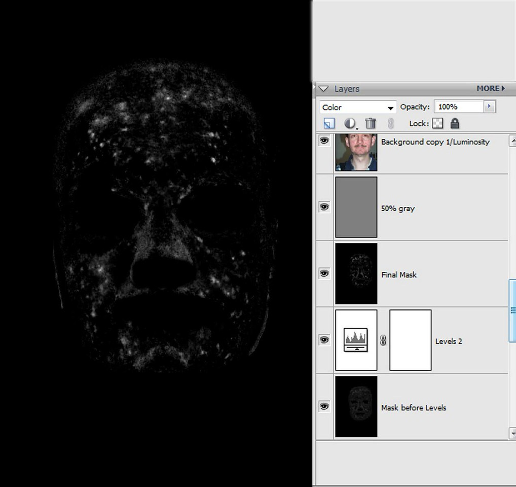 """<font color=""""#66FF00""""><h3> STEP 4</h3></font> Make a new """"copy merged"""" layer from your current result by pressing CTRL-SHIFT-ALT-E (layer named """"Mask before Levels"""" in the figure on the right). Remember to select the top layer in the stack before pressing CTRL-SHIFT-ALT-E, because the """"copy merged"""" layer is always placed above the currently selected layer.  <font color=""""#66FF00""""><h3> STEP 5</h3></font> Create a """"face mask"""" by painting out the rest of the picture with black (using the Paintbrush tool), so only the areas affected by acne remain.  <font color=""""#66FF00""""><h3> STEP 6</h3></font> Add a """"Levels"""" adjustment layer to the stack. Use it to increase contrast between the dark and light areas, then create another merged copy layer from your result by pressing CTRL-SHIFT-ALT-E. This produces our finished """"face mask"""" (layer named """"Final Mask"""" in the figure on the right)."""