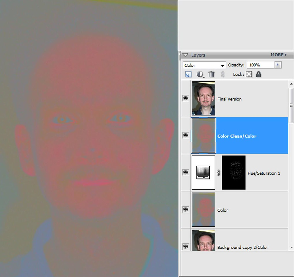 """<font color=""""#66FF00""""><h3> STEP 11</h3></font> As you can see there are bright red spots on the """"Color"""" layer that need to be smoothed out.  To do that, add a """"Hue/Saturation"""" adjustment layer with the """"Final Mask"""" layer we used before placed in the """"Hue/Saturation"""" layer mask (see the layer stack on the right).  Move the saturation and lightness sliders in the adjustment layer until the spots blend with the rest of the skin.    Tutorial concludes on <font color=""""#66FF00""""><a href=""""http://www.photocleanuponline.com/gallery/6889359_WuTtg/2"""">Page 2</a></font>.    <a href=""""http://www.photocleanuponline.com"""">Home</a>"""