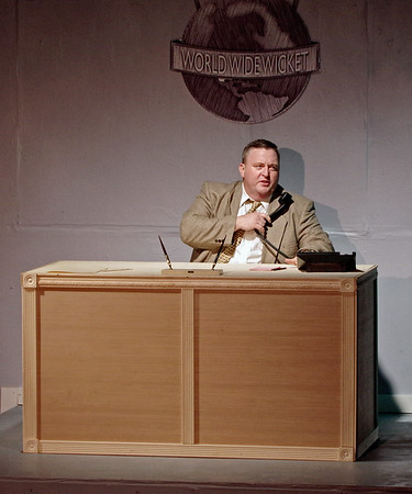 """Mark Maynard   For The Herald Bulletin<br /> Tony Johnson plays J.B. Biggley, president  of World Wide Wicket, in Anderson Mainstage Theatre's presention of """"How to Succeed in Business Without Really Trying."""""""