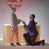"Mark Maynard | For The Herald Bulletin<br /> Rosemary Pilkington (Kayla Shoemaker) is stunned by J. Pierrepont Finch's marriage proposal in ""How to Succeed in Business Without Really Trying."""